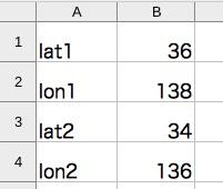 lat1=36, lon1=138, lat2=34, on2=136